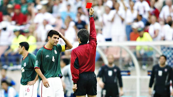 Rafa Marquez was shown a red card at the end of Mexico's 2002 World Cup defeat to the U.S.