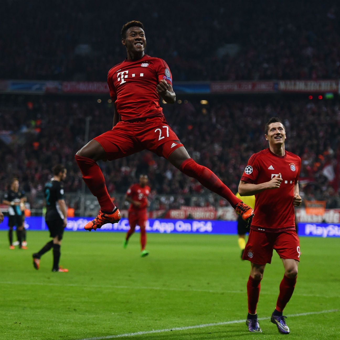 David Alaba's curling strike on the stroke of half-time all but sealed the three points for Bayern.
