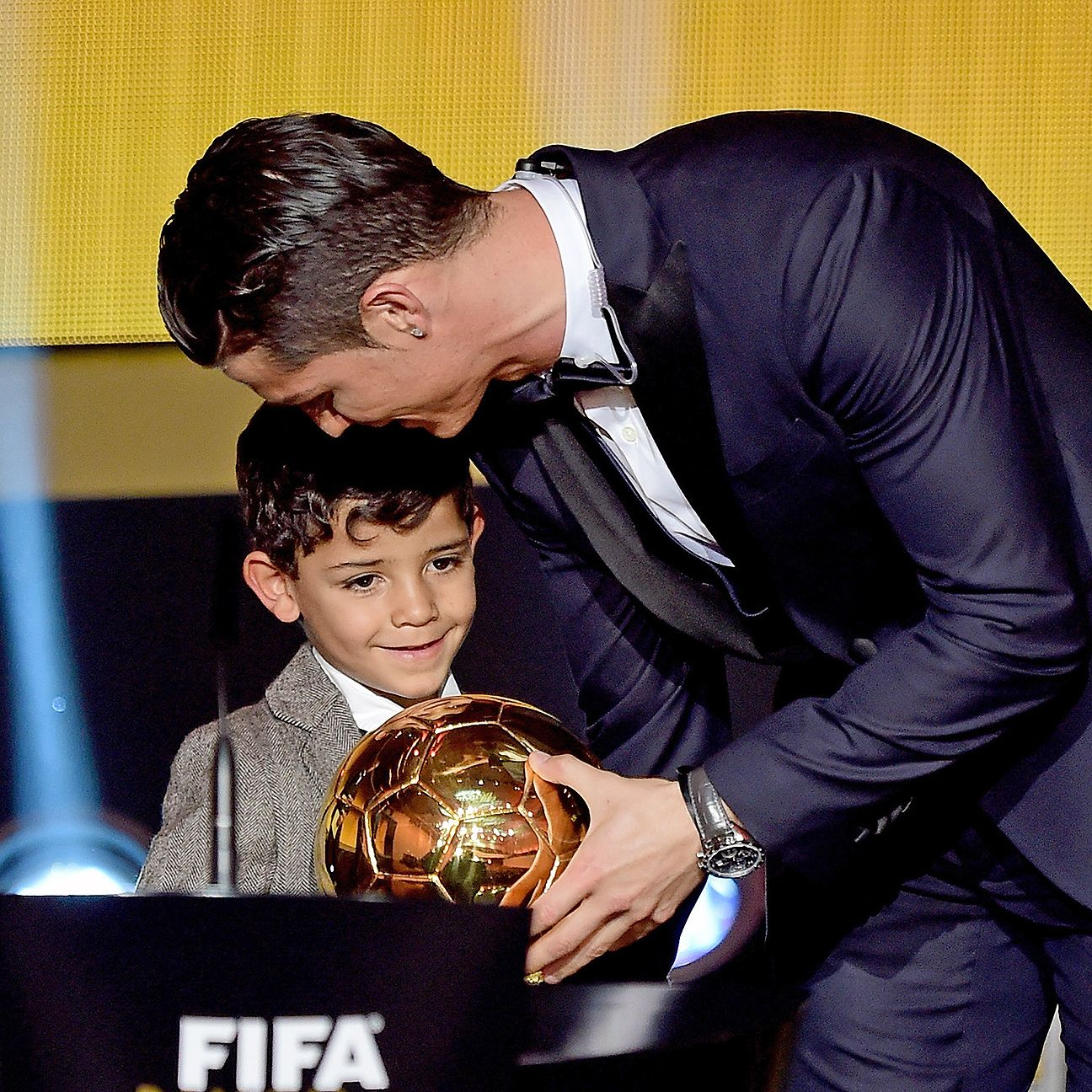 Ronaldo is portrayed as a doting father of Cristiano Jnr. in