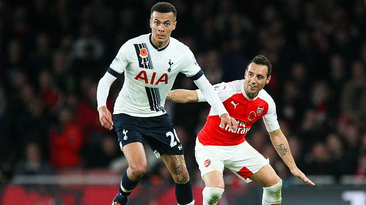 Santi Cazorla, right, was not at his best in his one half of action against Spurs.