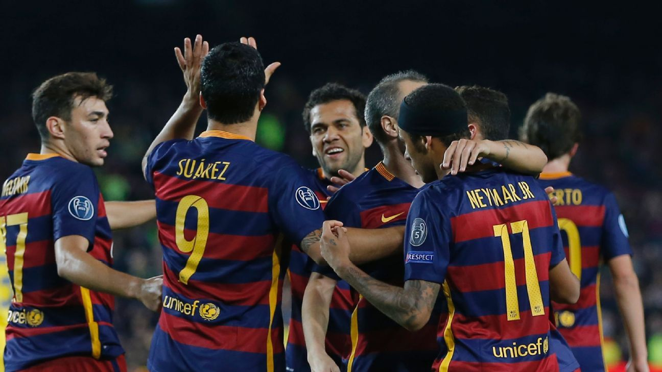 Barcelona celebrate vs. BATE Borisov 151113