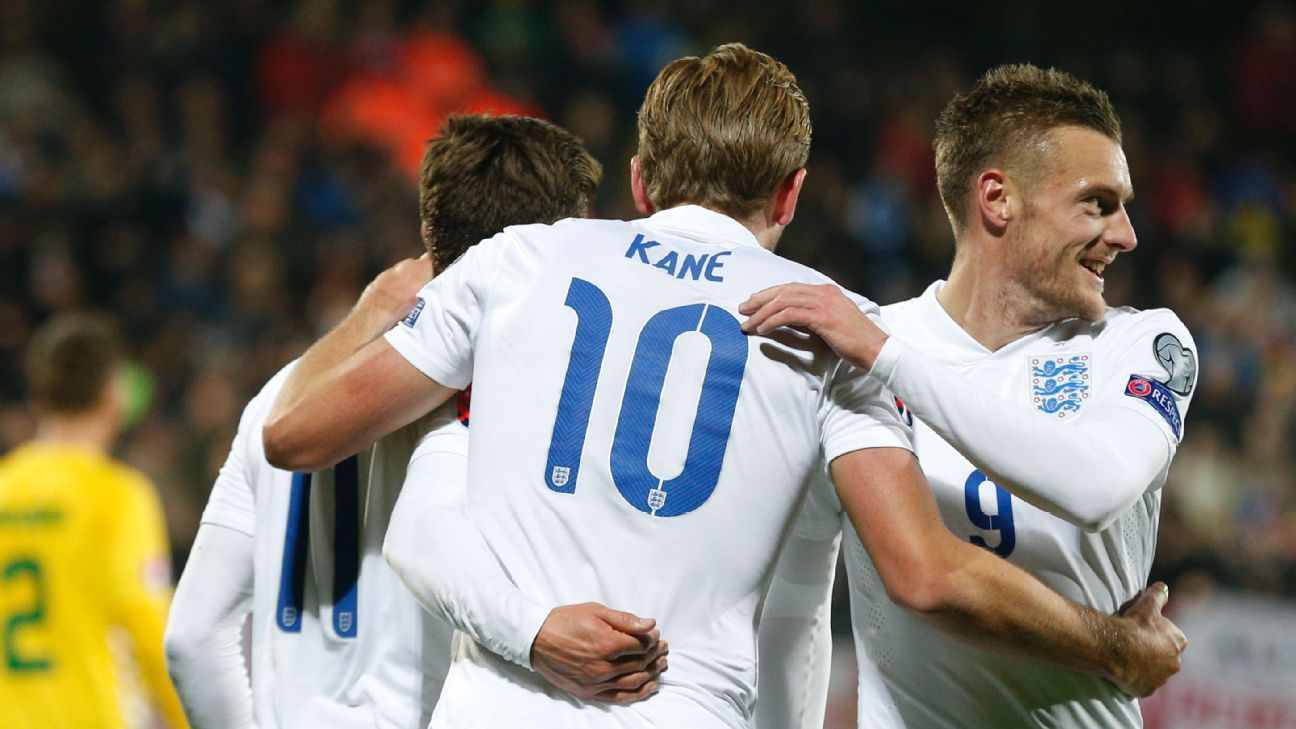 Kane, Vardy England vs. Lithuania Oct 12 151113