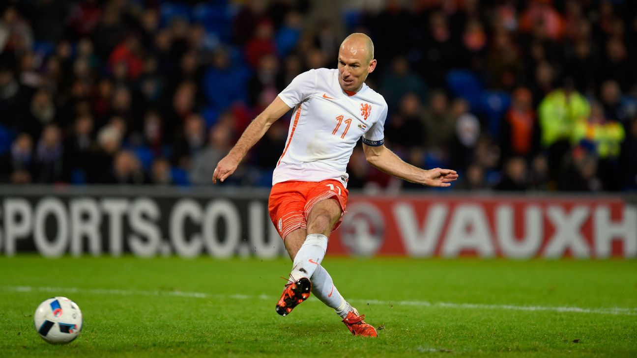 Injured Arjen Robben to miss Netherlands World Cup qualifiers