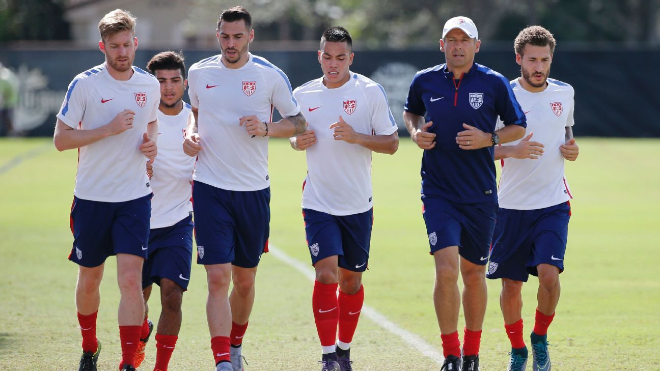 U.S. players train with coach Jurgen Klinsmann