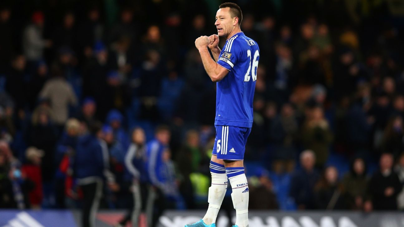 LONDON, ENGLAND - NOVEMBER 21: John Terry of Chelsea celebrates his team's 1-0 win in the Barclays Premier League match between Chelsea and Norwich City at Stamford Bridge on November 21, 2015 in London, England.  (Photo by Paul Gilham/Getty Images)
