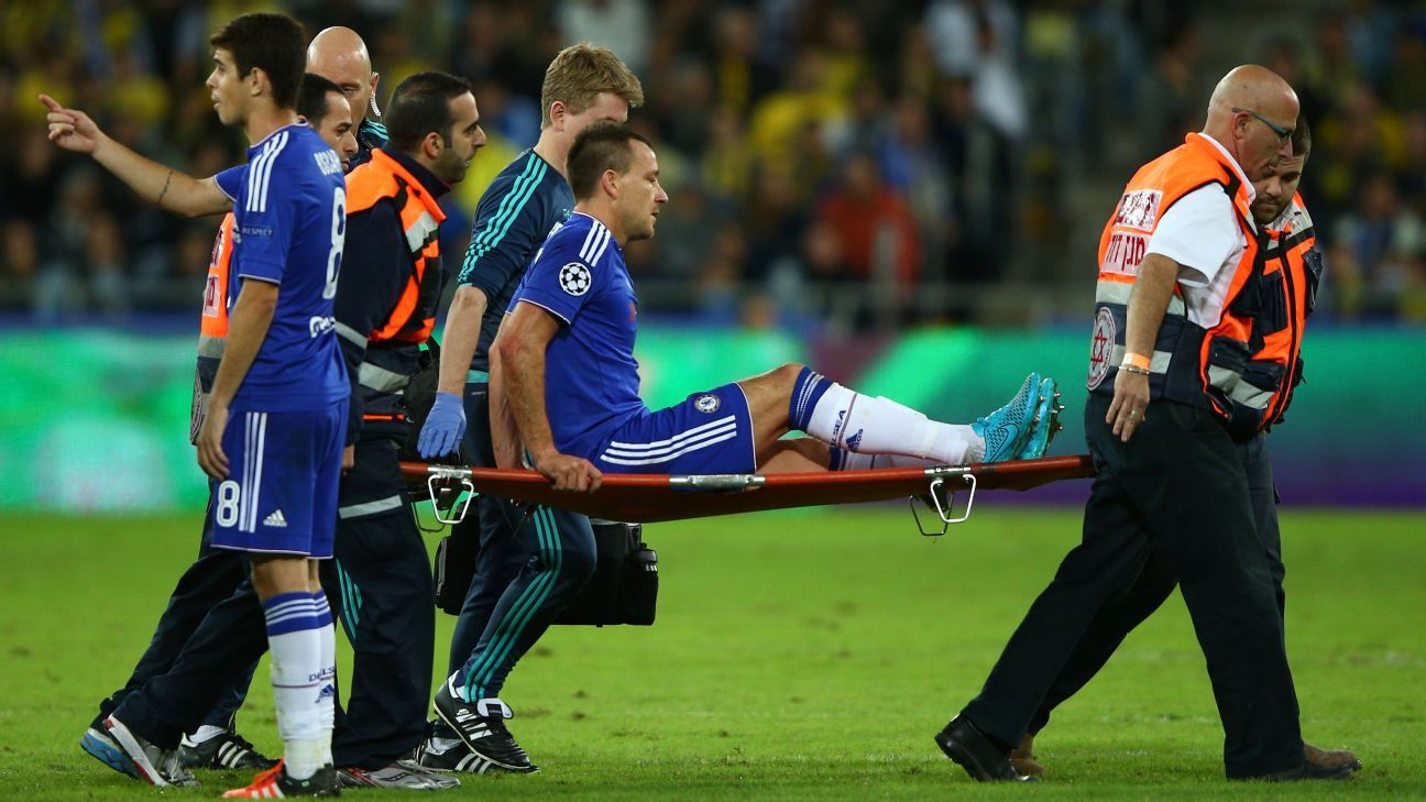 John Terry of Chelsea leaves the field on a stretcher during the UEFA Champions League Group G match between Maccabi Tel-Aviv FC and Chelsea FC at Sammy Ofer Stadium on November 24, 2015 in Haifa, Israel. (Photo by Ian Walton/Getty Images)