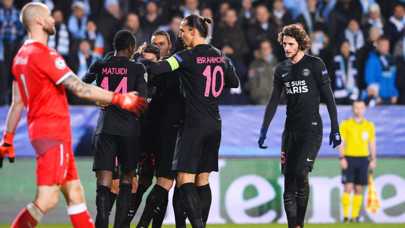 PSG dominated from the start, scoring twice inside the first 15 minutes on their way to a 5-0 win at Malmo.