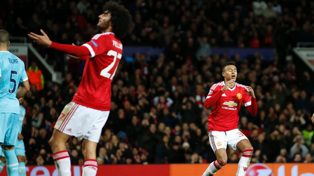 After Wednesday's 0-0 draw vs. PSV, Manchester United have just five goals in five Champions League matches.