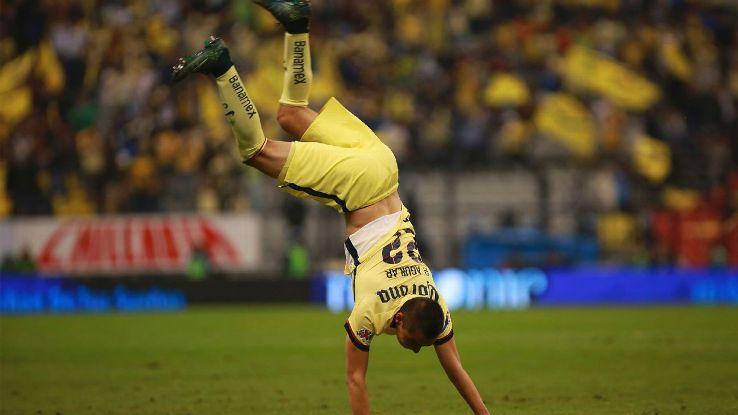 Paul Aguilar celebrates scoring a goal against Leon.