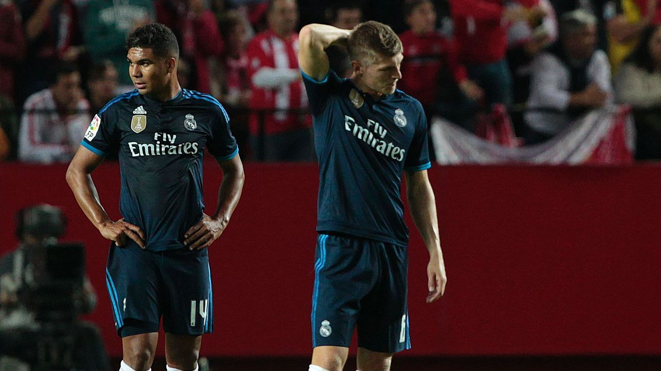 Casemiro, left, and Toni Kroos, have played together but only when key Real Madrid attackers have been injured.