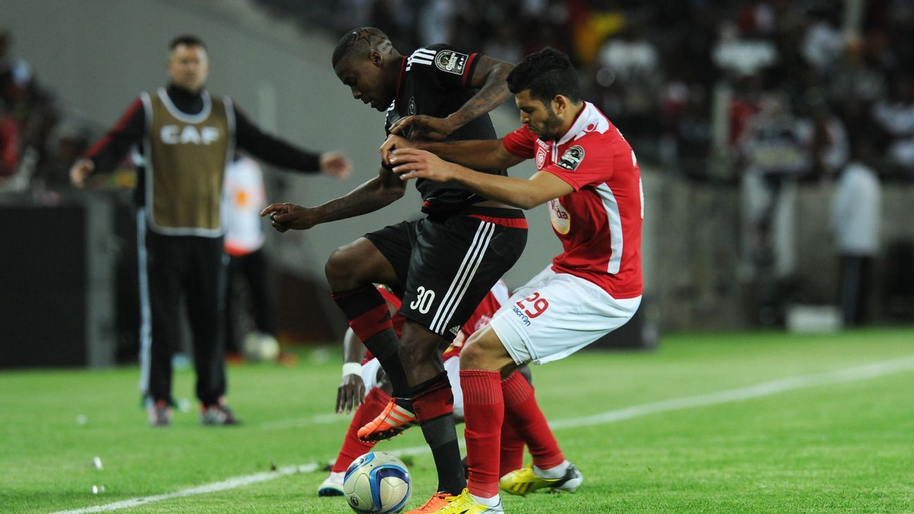 CAF Confederation Cup honours are up for grabs between Thamsanqa Gabuza's Orlando Pirates, left, and Mohamed Amine Ben Amor's Etoile du Sahel.
