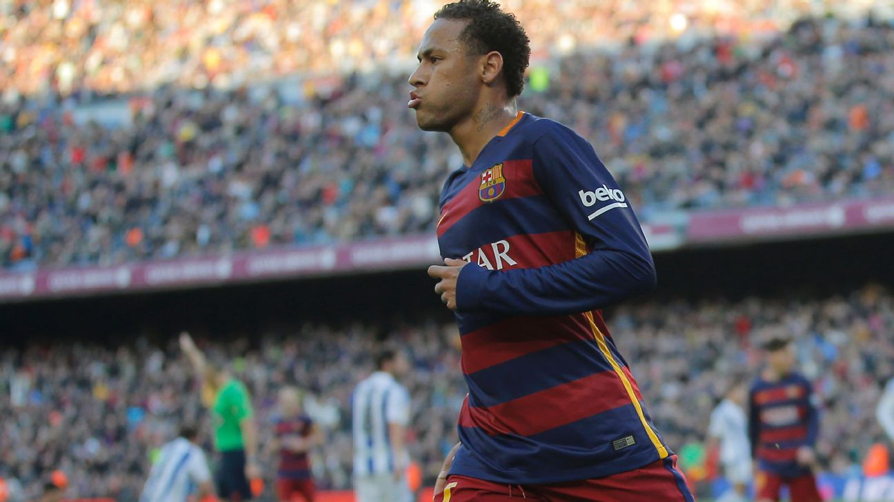 Neymar scored a goal in each half to help Barcelona to their sixth straight victory.