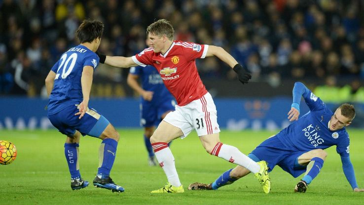 After a shaky first half, Bastian Schweinsteiger and Manchester United controlled the tempo vs. Leicester in the second half.