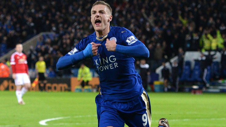 Jamie Vardy's astounding scoring streak reached a history-making 11 matches on Saturday against Manchester United.