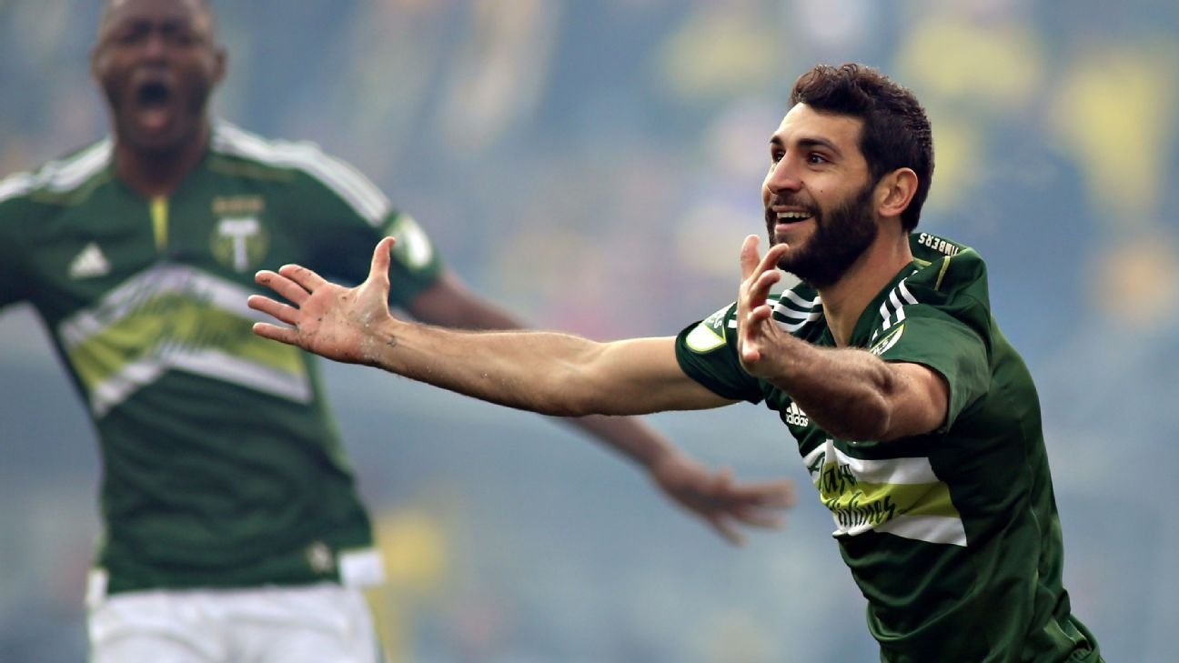 Portland Timbers midfielder Diego Valeri (8) celebrates after scoring a goal against the Columbus Crew during the first half in the 2015 MLS Cup championship game at MAPFRE Stadium.