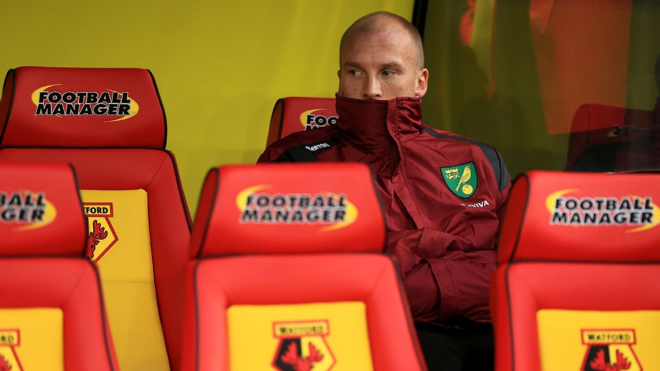 John Ruddy of Norwich City looks on from the bench prior to the Barclays Premier League match between Watford and Norwich City at Vicarage Road on December 5, 2015 in Watford, England. (Photo by Stephen Pond/Getty Images)