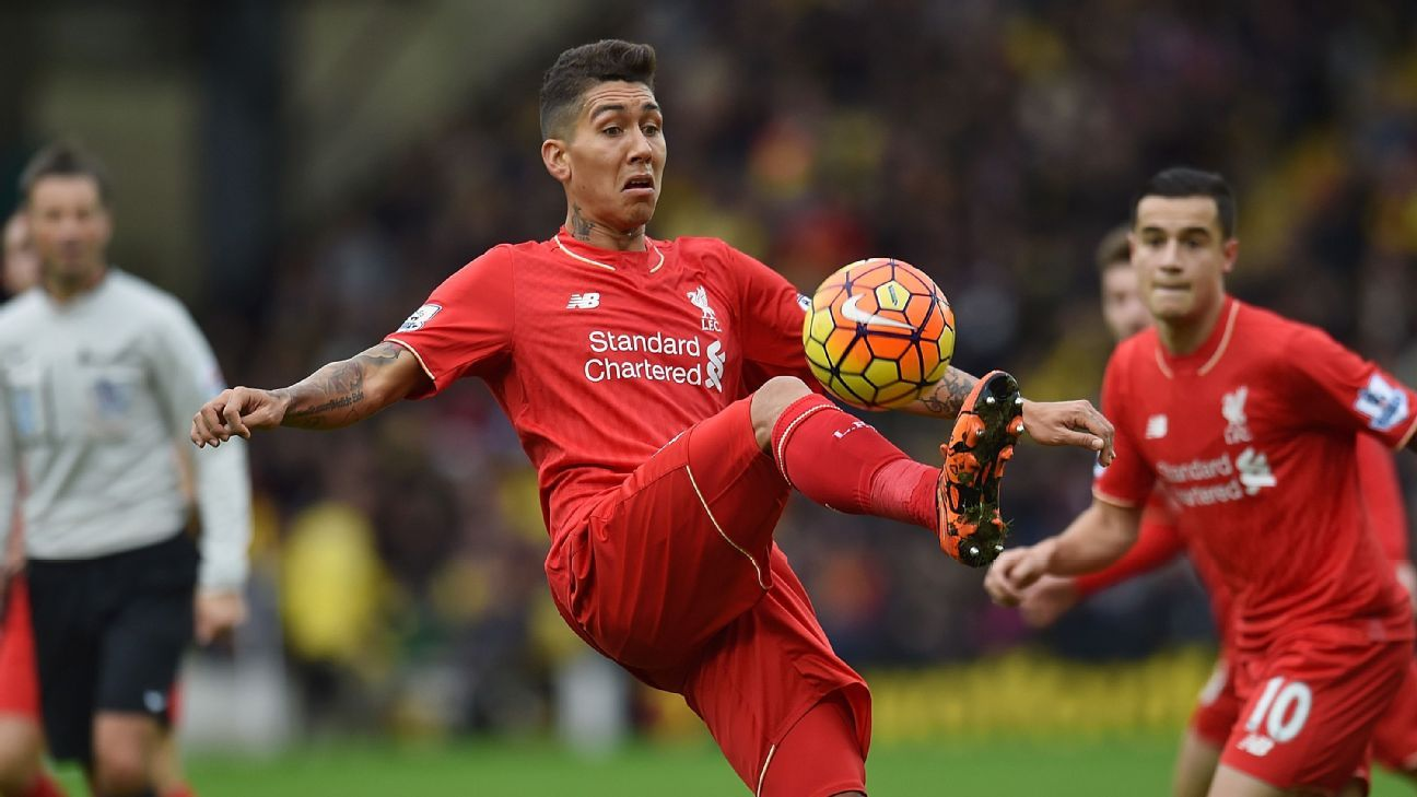 Roberto Firmino of Liverpool during the Barclays Premier League match between Watford and Liverpool at Vicarage Road on December 20, 2015 in Watford, England. (Photo by Andrew Powell/Liverpool FC via Getty Images)