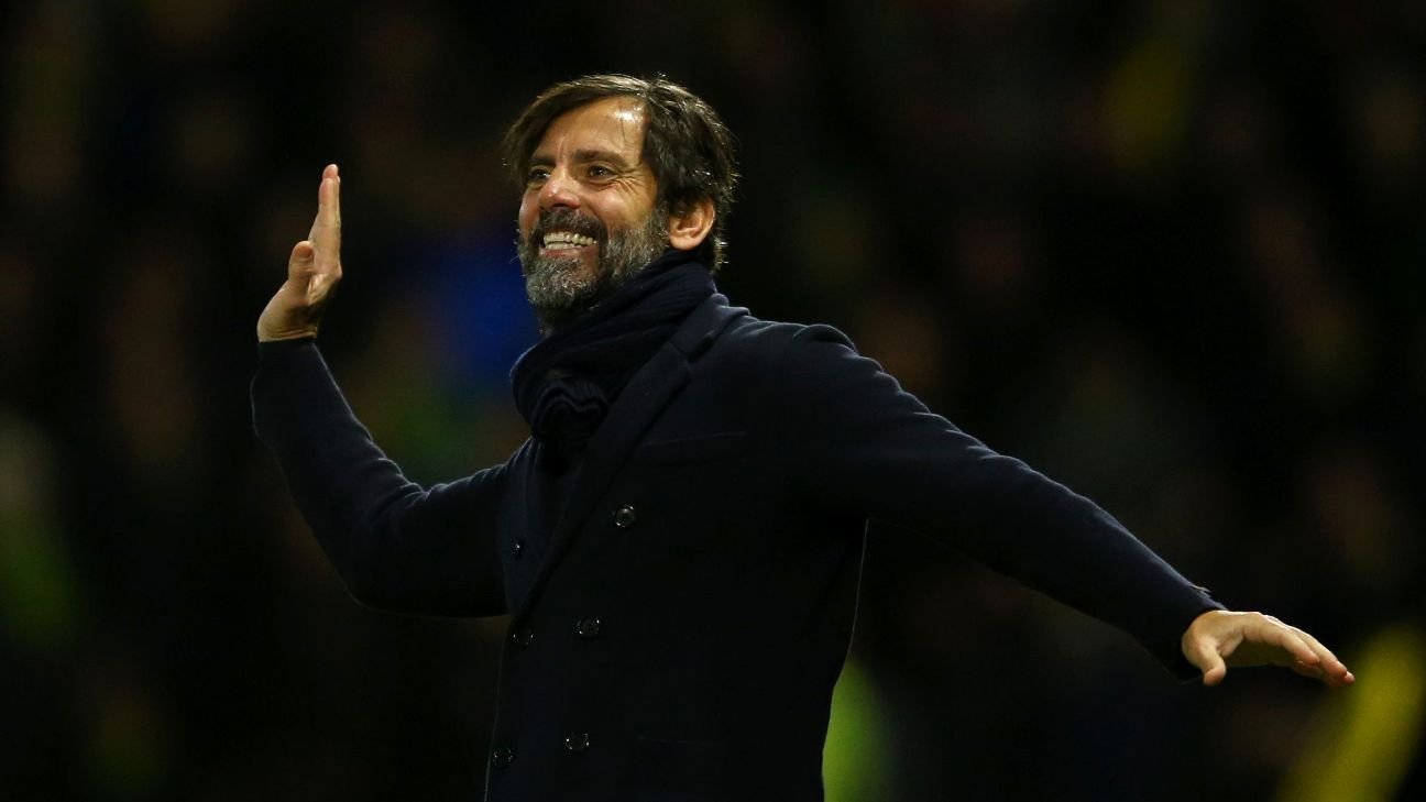 Quique Sanchez Flores manager of Watford celebrates his team's second goal during the Barclays Premier League match between Watford and Norwich City at Vicarage Road on December 5, 2015 in Watford, United Kingdom. (Photo by Richard Heathcote/Getty Images)