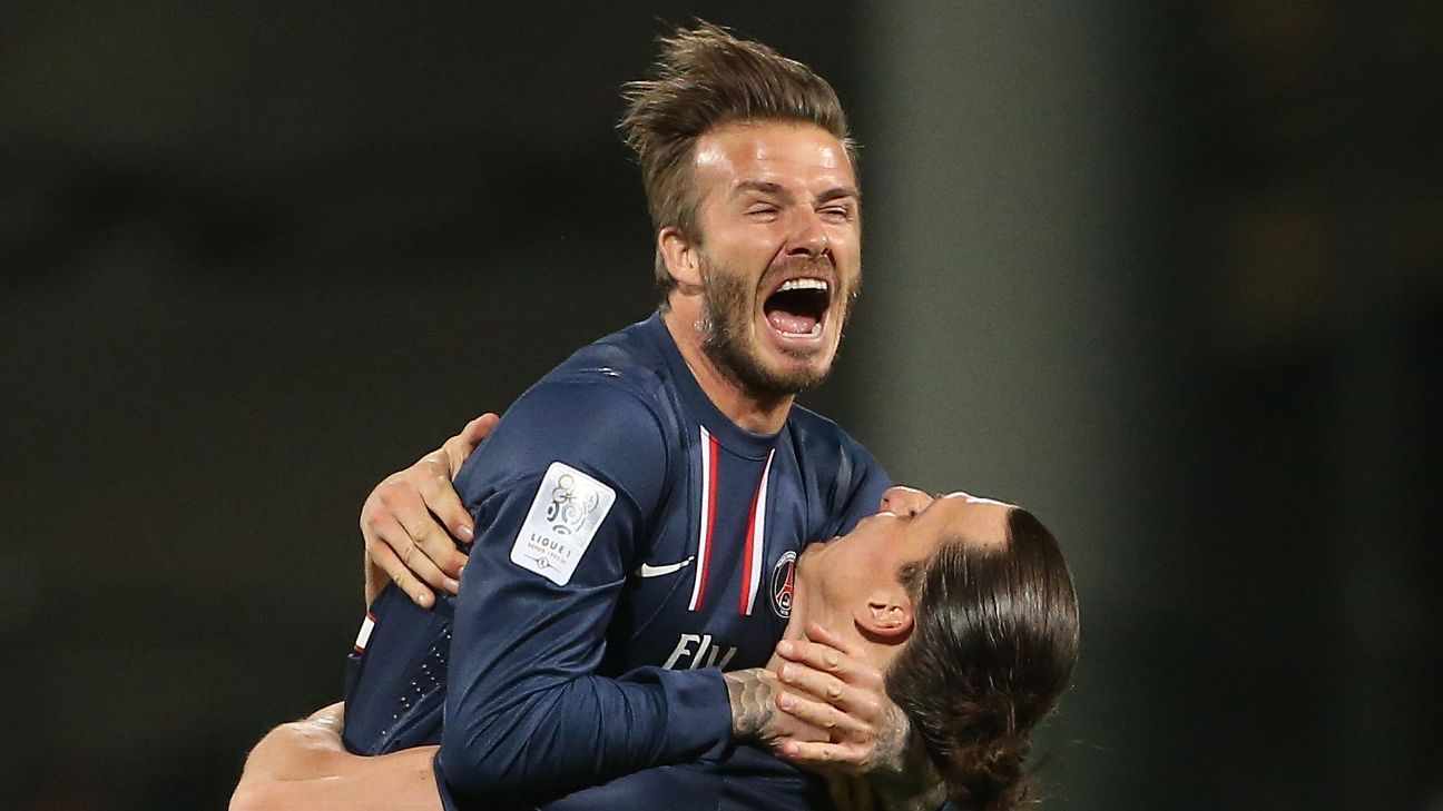 David Beckham and Zlatan Ibrahimovic of PSG celebrate the Ligue 1 title after the Ligue 1 match between Olympique Lyonnais, OL, and Paris Saint-Germain FC, PSG, at the Stade Gerland on May 12, 2013 in Lyon, France. (Photo by John Berry/Getty Images)