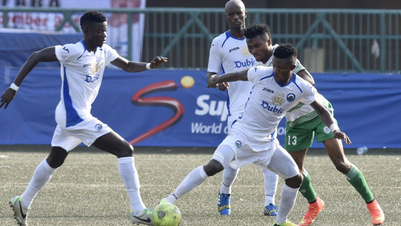 Clubs in Nigeria like Enyimba, seen here in action in a cup match against Dolphins, are state-owned.