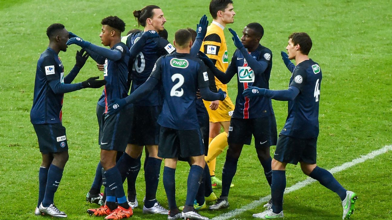 Zlatan Ibrahimovic, centre, was one of the few who stood out for PSG in Sunday's Coupe de France win at Wasquehal.