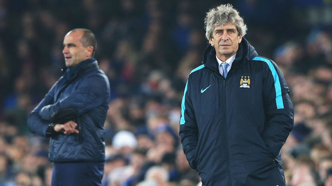 Normally intent on attacking, Roberto Martinez, left and Manuel Pellegrini, right, opted for caution in Wednesday's first leg.