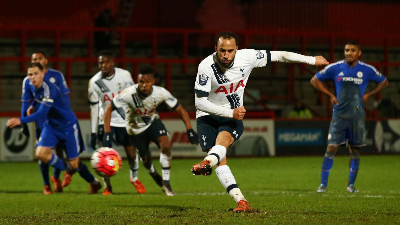 Andros Townsend of Spurs scores his team's third goal from the penalty spot during the U21 Premier League match between Tottenham and Chelsea at The Lamex Stadium on January 11, 2016 in Stevenage, England.  (Photo by Matthew Lewis/Getty Images)