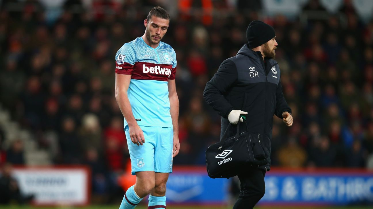 An injured Andy Carroll of West Ham United leaves the pitch during the Barclays Premier League match between A.F.C. Bournemouth and West Ham United at Vitality Stadium on January 12, 2016 in Bournemouth, England. (Photo by Clive Rose/Getty Images)