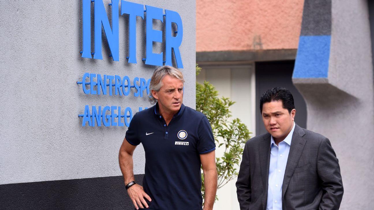 Inter president Erick Thohir and Roberto Mancini