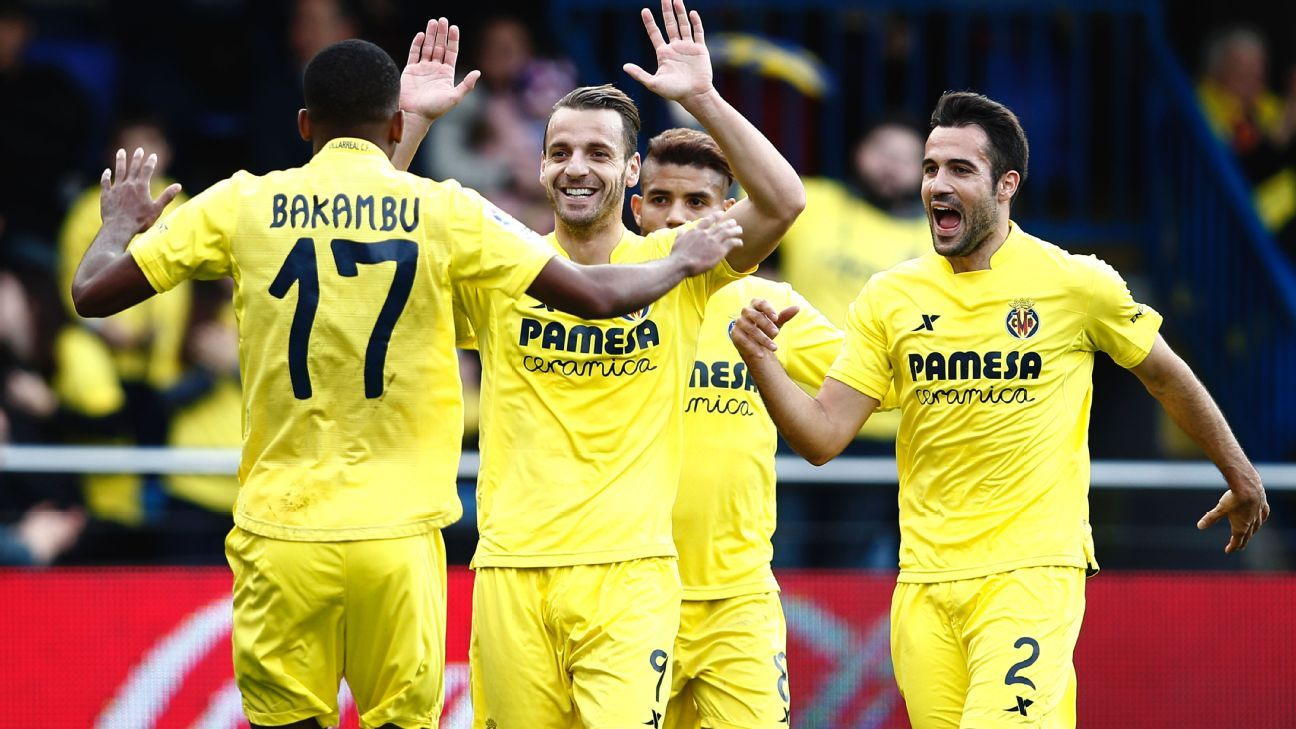 After a failed stint at Tottenham, Roberto Soldado, second from left, is back in Spain and leading Villarreal's attack alongside Cedric Bakambu.