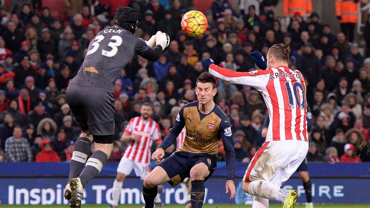 Arsenal goalkeeper Petr Cech, left, made a number of key saves in Sunday's 0-0 draw at Stoke.