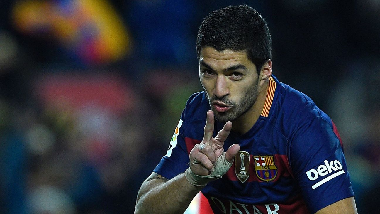 Luis Suarez collected his third hat trick this season for Barcelona.