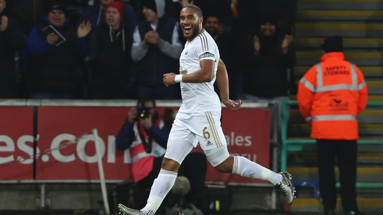 Ashley Williams was a presence at both ends of the pitch for Swansea on Monday.