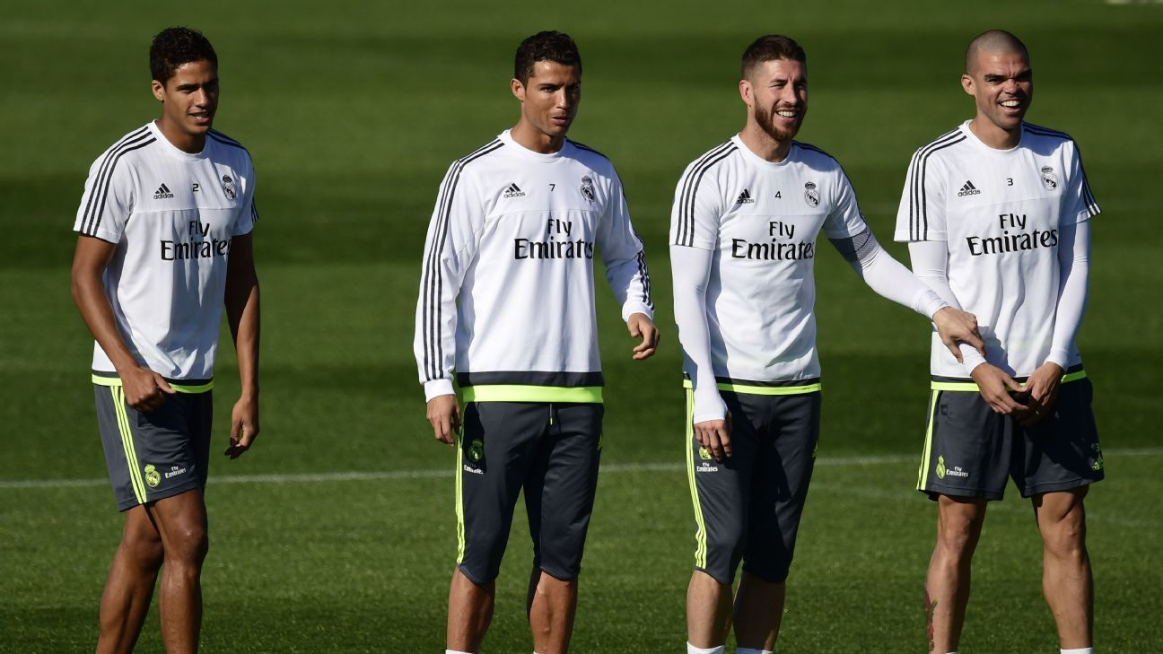 Raphael Varane (L), Cristiano Ronaldo (2L), Sergio Ramos (3L) and Pepe (4L) stands at Valdebebas Sport City in Madrid on November 7, 2015 on the eve of Real Madrid's La Liga match against Sevilla. (PIERRE-PHILIPPE MARCOU/AFP/Getty Images)