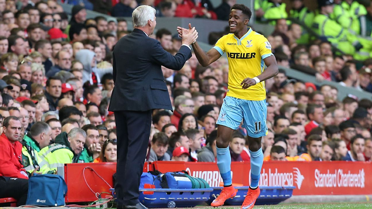 Alan Pardew and Wilfried Zaha