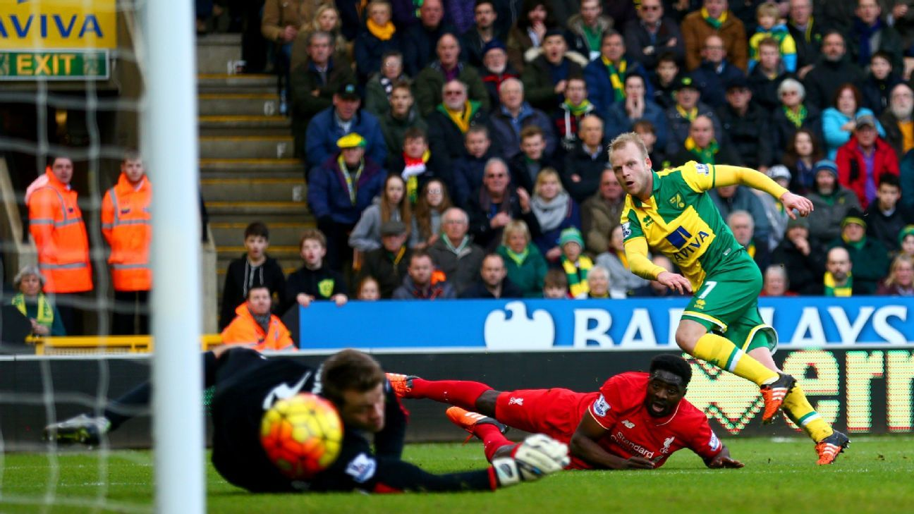 Steven Naismith's goal gave Norwich City a 2-1 first half lead vs. Liverpool.