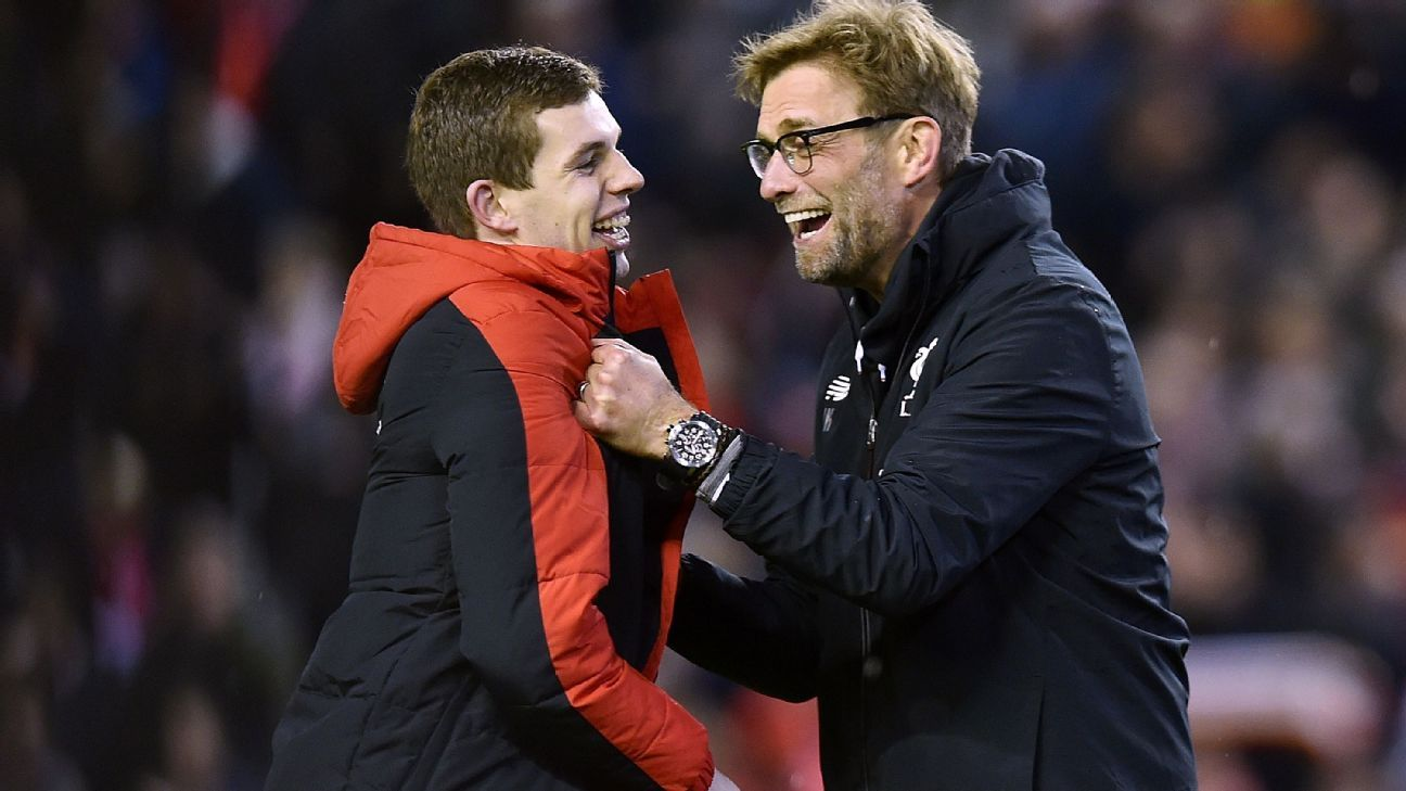 Liverpool manager Jurgen Klopp, right, was gushing with praise for defender Jon Flanagan, left, who played 105 minutes against Stoke on Tuesday.