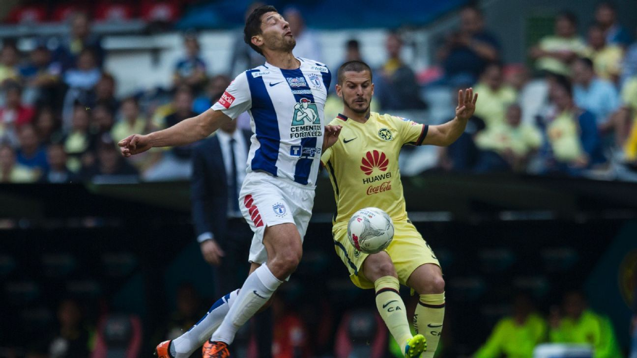 Omar Gonzalez, left, helped Pachuca shut down Club America's high-flying attack in Los Tuzos' 4-1 win last Saturday in the Estadio Azteca.