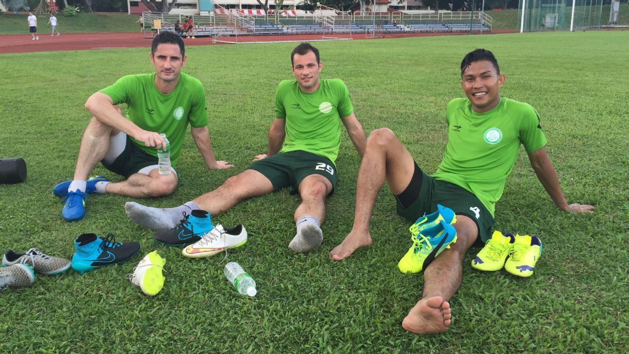 Geylang's Daniel Bennett, Branko Cubrilo and Isa Halim