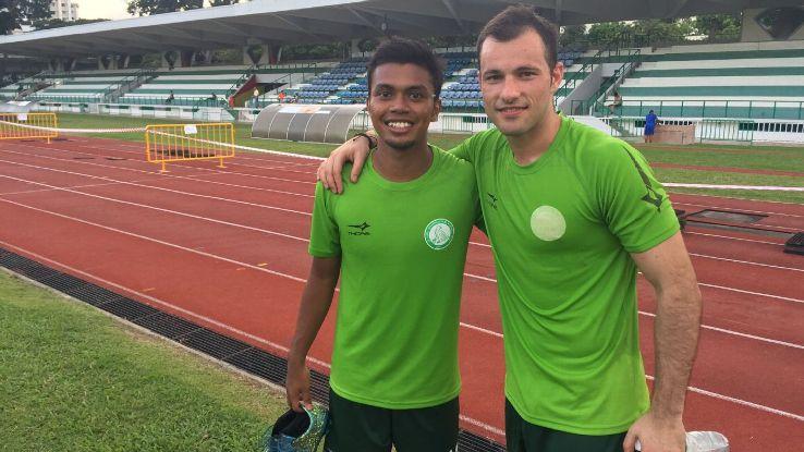 Geylang's Safirul Sulaiman and Branko Cubrilo