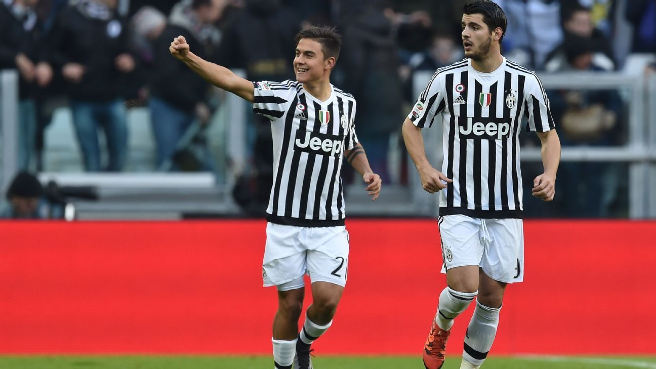 Paulo Dybala, left, and Alvaro Morata, right, each scored in Juventus' 3-0 Coppa Italia victory over Inter Milan.