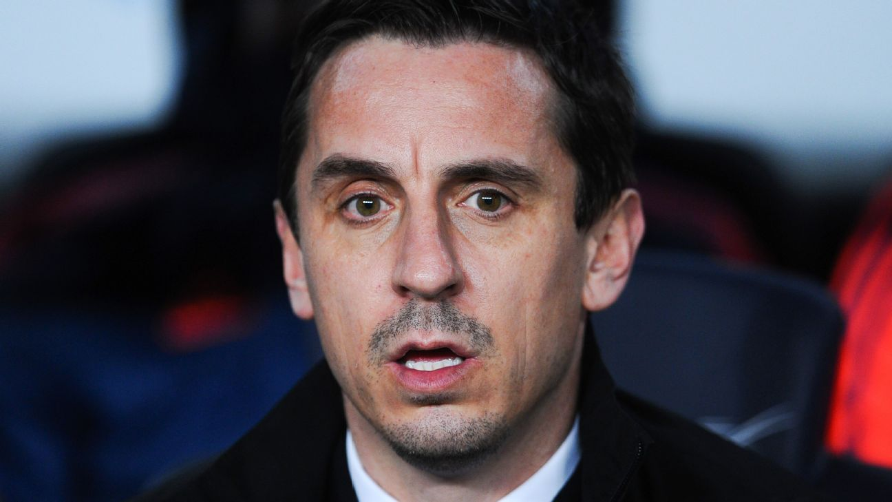 Gary Neville could only watch on in shock as his Valencia were thoroughly dismantled by Barcelona.