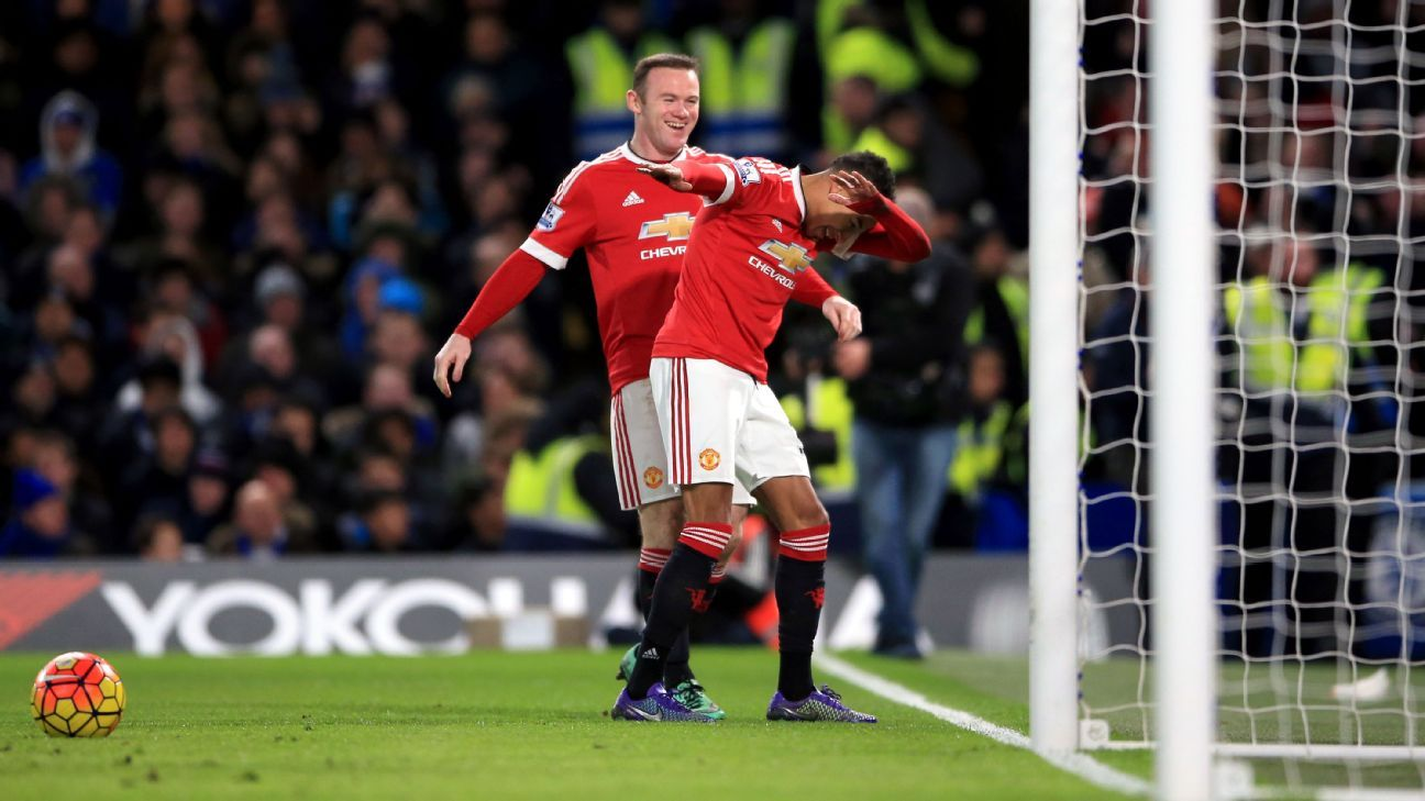 Jesse Lingard and Wayne Rooney
