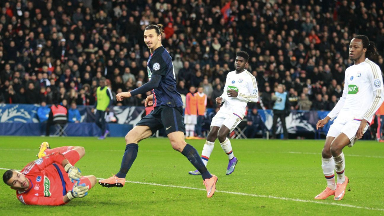 Zlatan Ibrahimovic's two goals in four second half minutes ended any hopes of a Lyon upset in Paris.