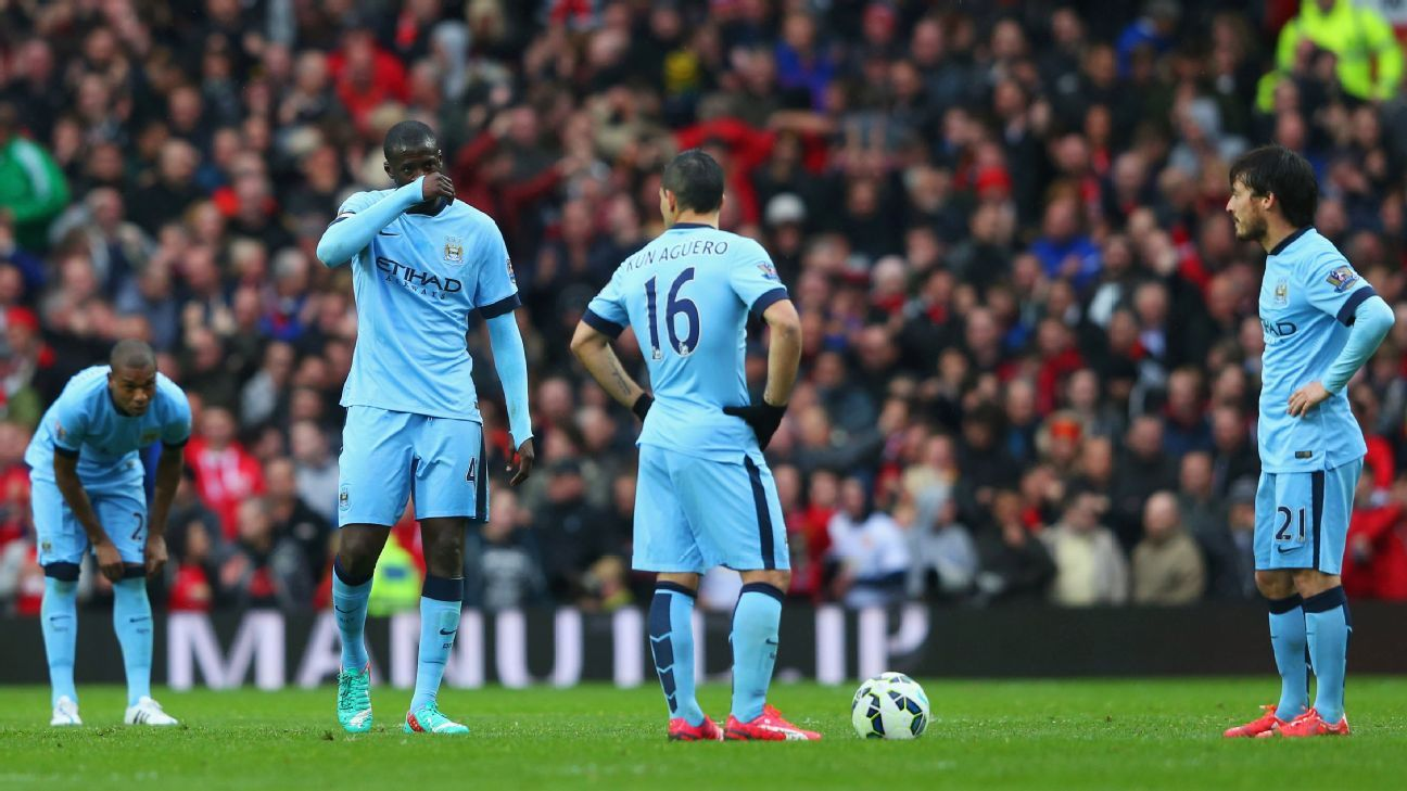 Unlike seasons past, 2015-16 has proven to be a struggle for Manchester City stars Yaya Toure, left, Sergio Aguero, center, and David Silva, right.