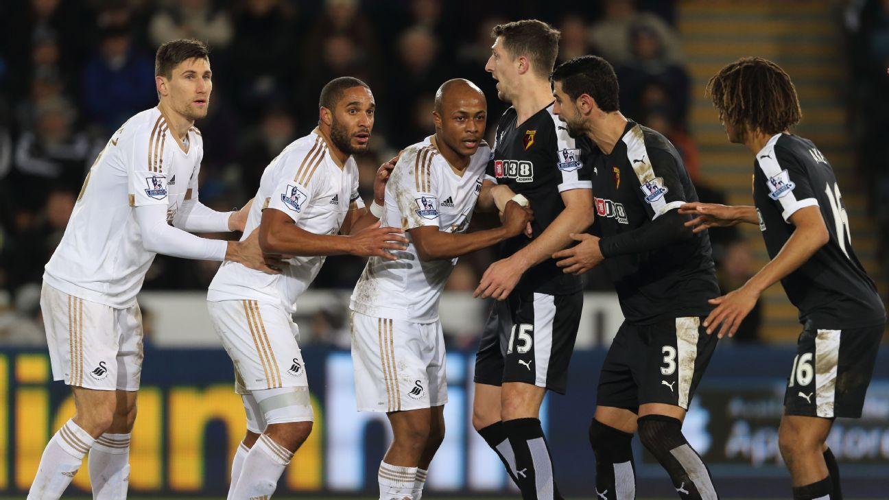 Swansea defending a corner