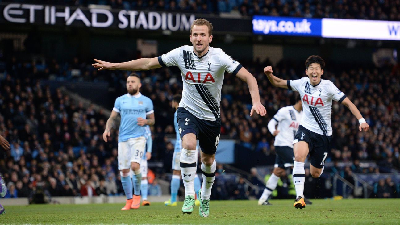 Harry Kane calmly converted from the spot to hand Tottenham a 1-0 lead over Manchester City.