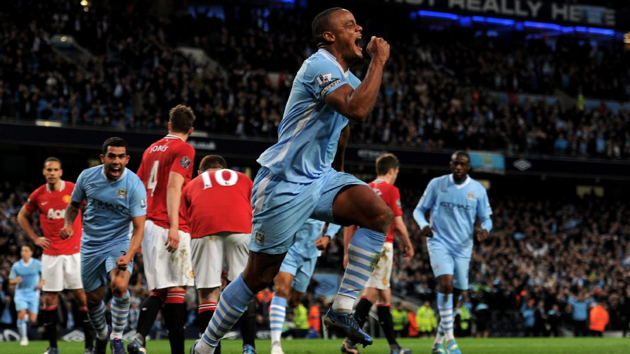 Vincent Kompany's winner in a 1-0 late season win over Manchester United in 2011-12 enabled Manchester City to top the table with two matches to play.