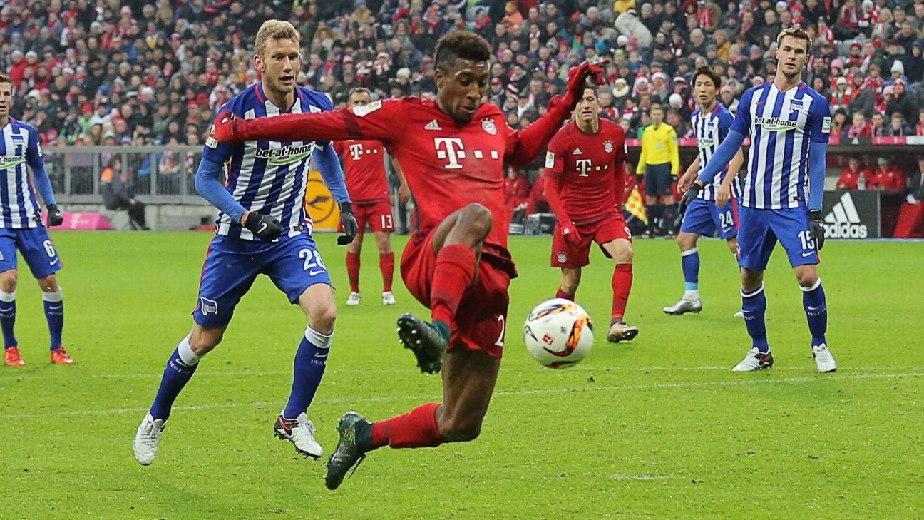 Bayern Munich forward Kingsley Coman, 19, has become a key first-team contributor for the German champs.