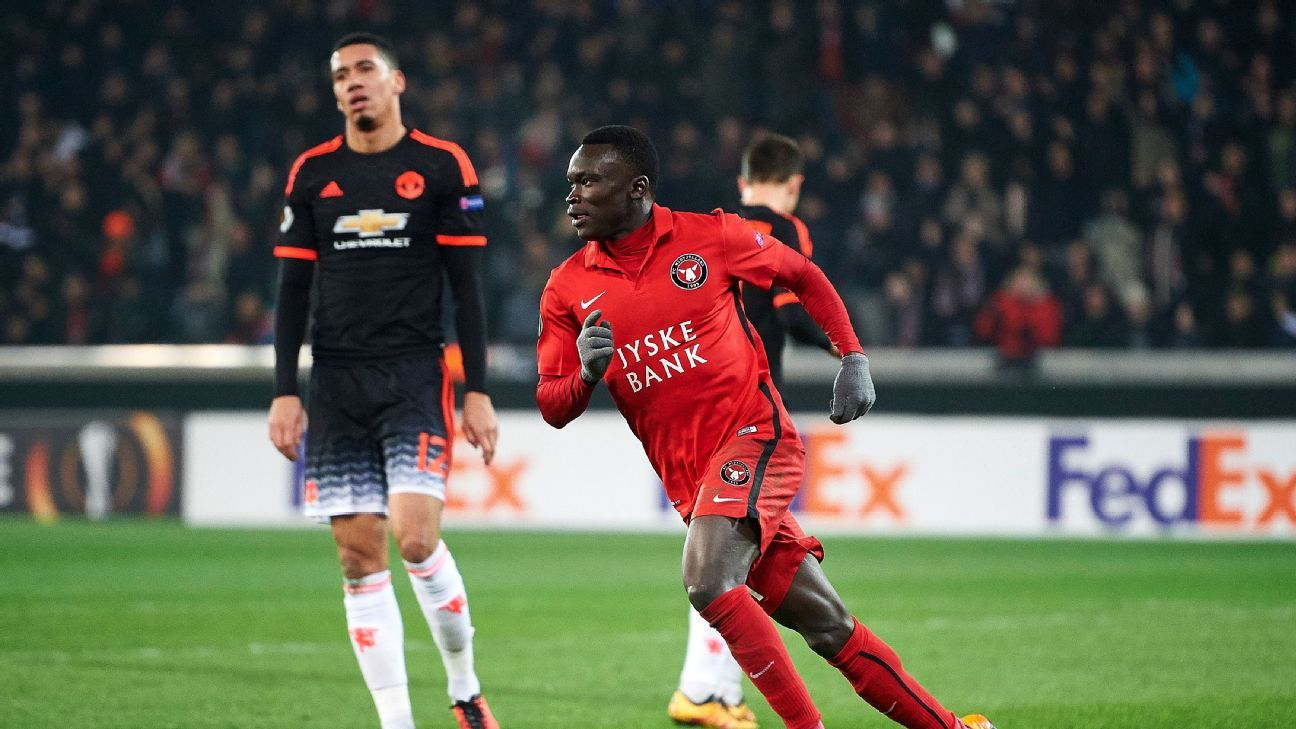 Chris Smalling could only watch on helplessly as Pione Sisto levelled for Midtjylland right before half-time.
